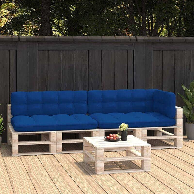 True Deal Coussins de canapé palette 5 pcs Bleu royal