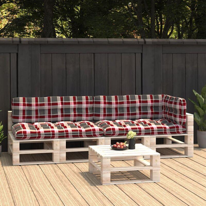 True Deal Coussins de canapé palette 5 pcs Motif à carreaux rouges