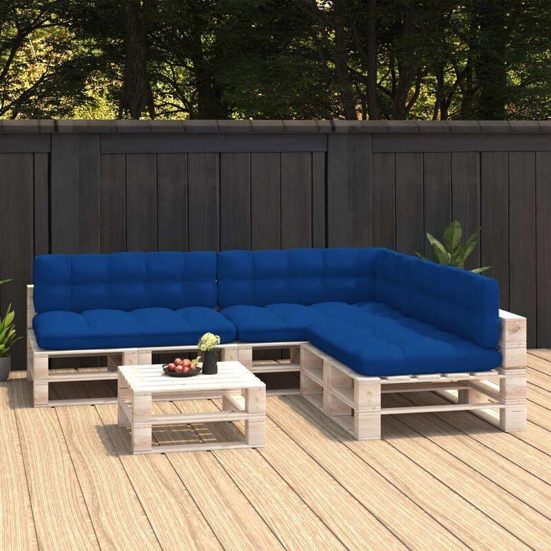 True Deal Coussins de canapé palette 7 pcs Bleu royal