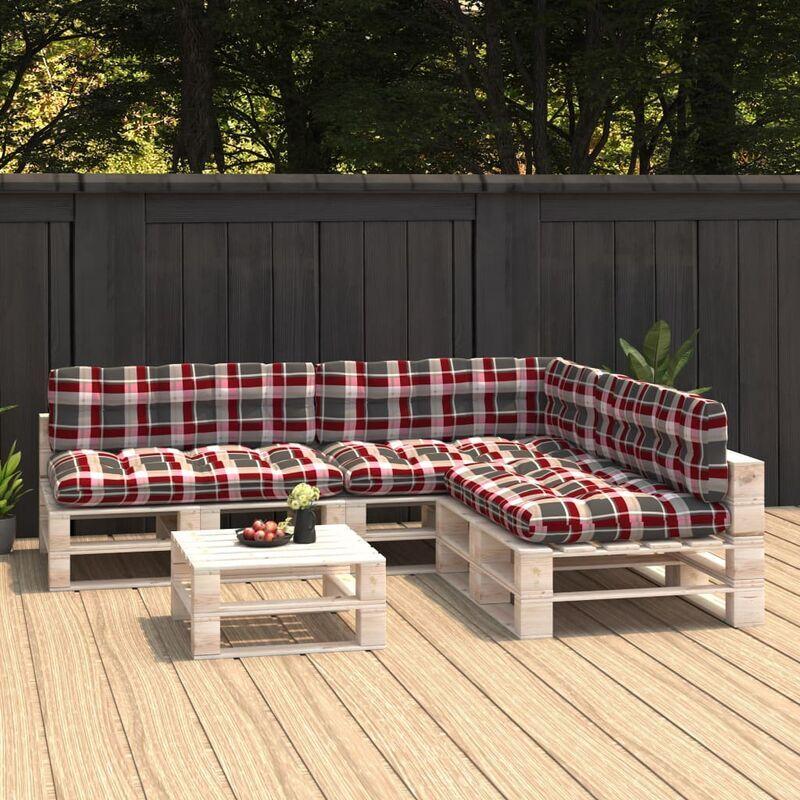 True Deal Coussins de canapé palette 7 pcs Motif à carreaux rouges