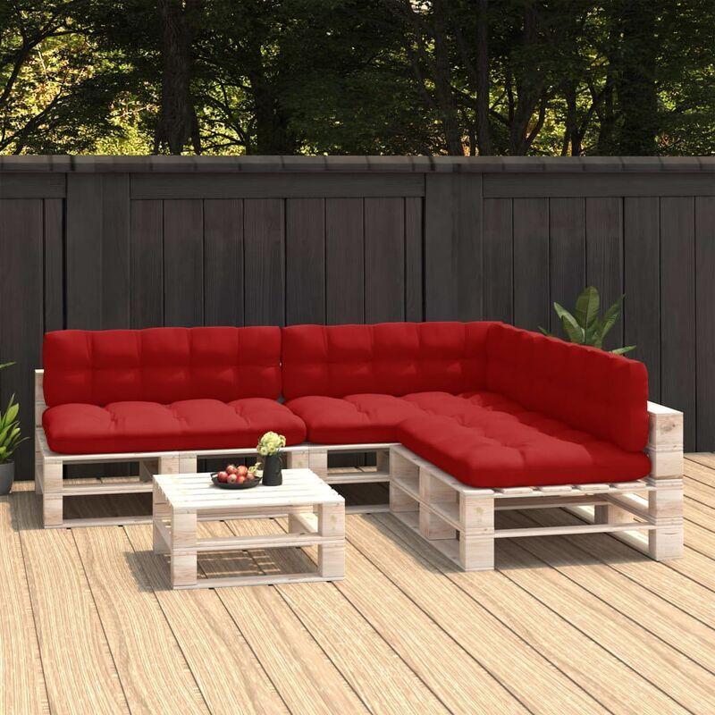 True Deal Coussins de canapé palette 7 pcs Rouge