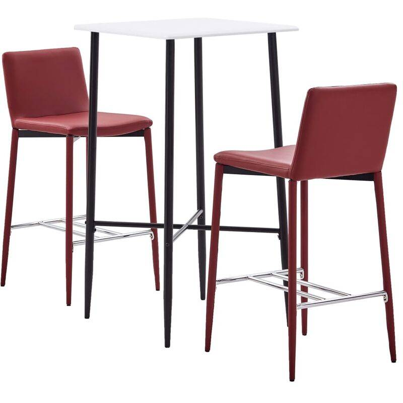 TRUE DEAL Ensemble de bar 3 pcs Similicuir Rouge bordeaux - True Deal