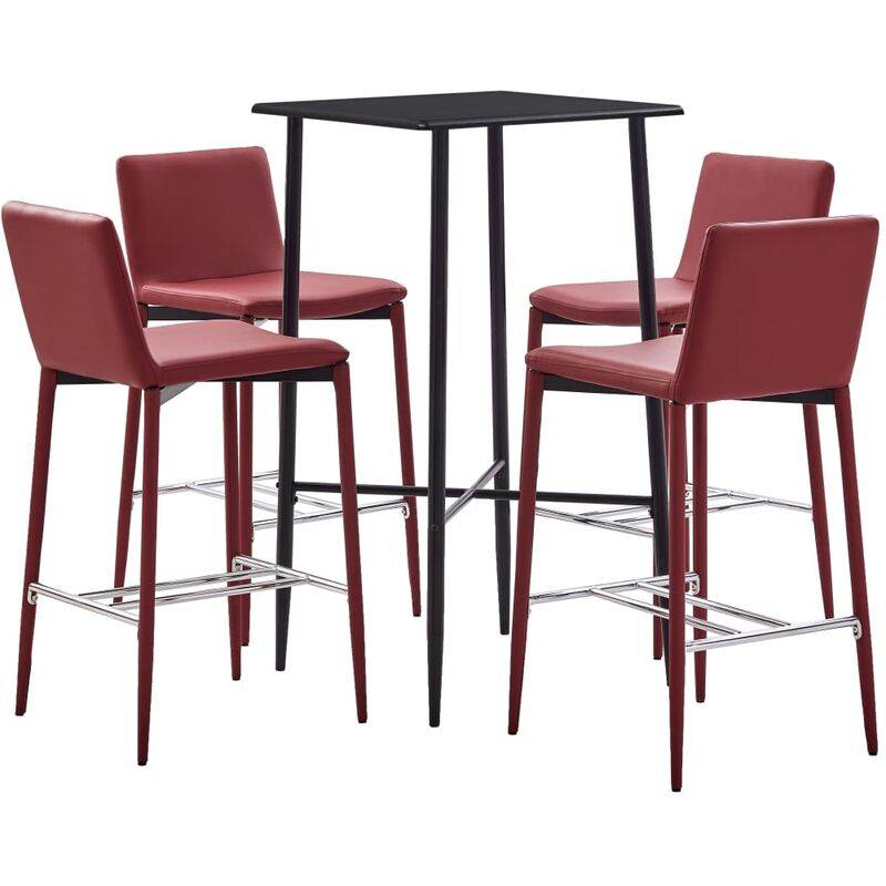 TRUE DEAL Ensemble de bar 5 pcs Similicuir Rouge bordeaux - True Deal