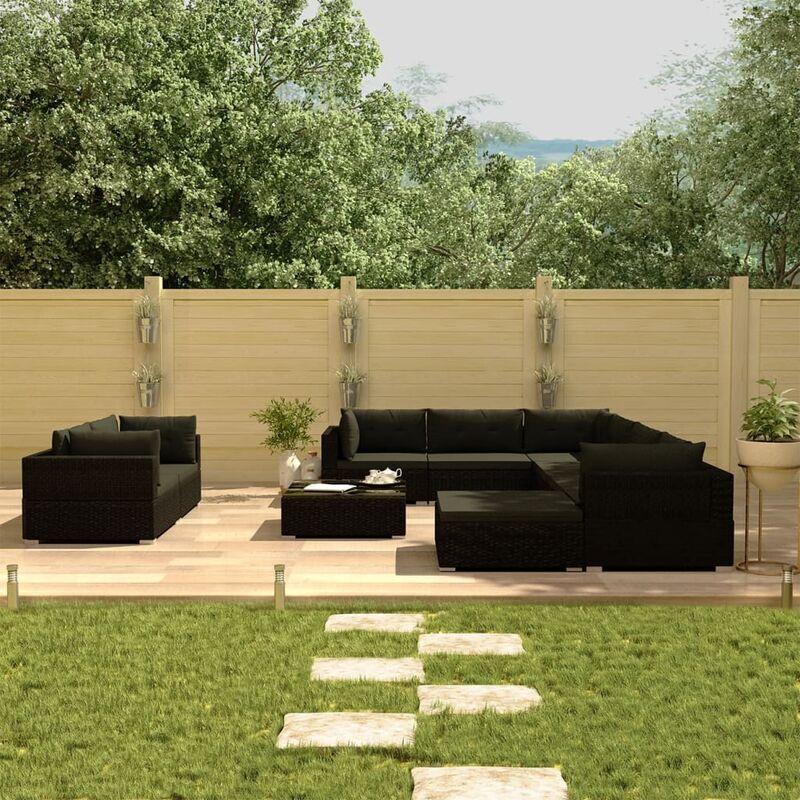 TRUE DEAL Salon de jardin 10 pcs avec coussins Résine tressée Noir - True Deal
