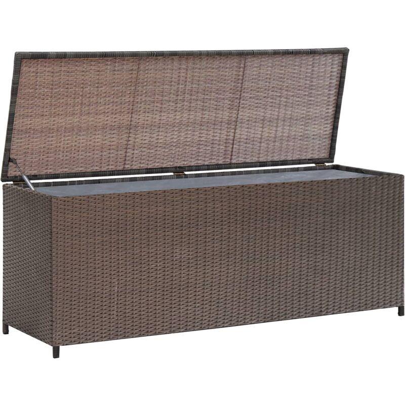 VIDAXL Boîte de rangement de jardin Marron 120x50x60 cm Résine tressée