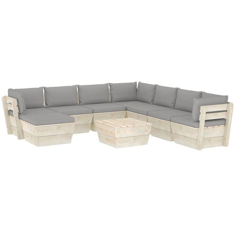 VIDAXL Salon de jardin palette 9 pcs avec coussins Épicéa imprégné