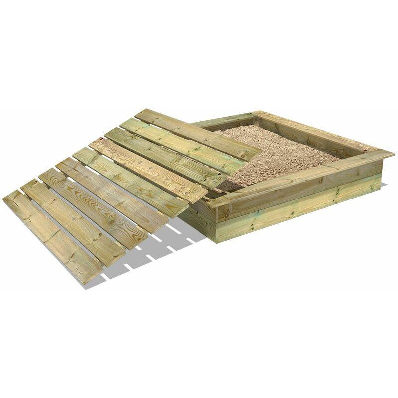 WICKEY Bac à sable King Kong 165x165 avec imprégné couvercle bois, oite à sable, bac à