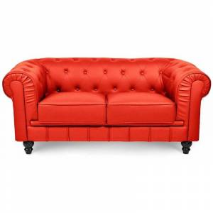 MOBILIER DECO CHESTERFIELD - Canapé chesterfield 2 places rouge - Publicité