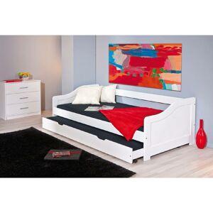 Dmora Canapé-lit simple avec lit gigogne, couleur blanche, 199 x 87 x 66 cm. Publicité