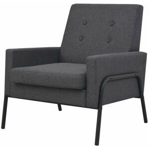 HELLOSHOP26 Fauteuil chaise siège lounge design club sofa salon acier et tissu gris foncé - Publicité
