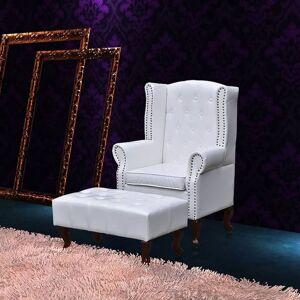 True Deal - Fauteuil chesterfield avec ottoman assorti blanc - Publicité