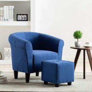 TRUE DEAL Fauteuil et tabouret Bleu Tissu - True Deal - Publicité
