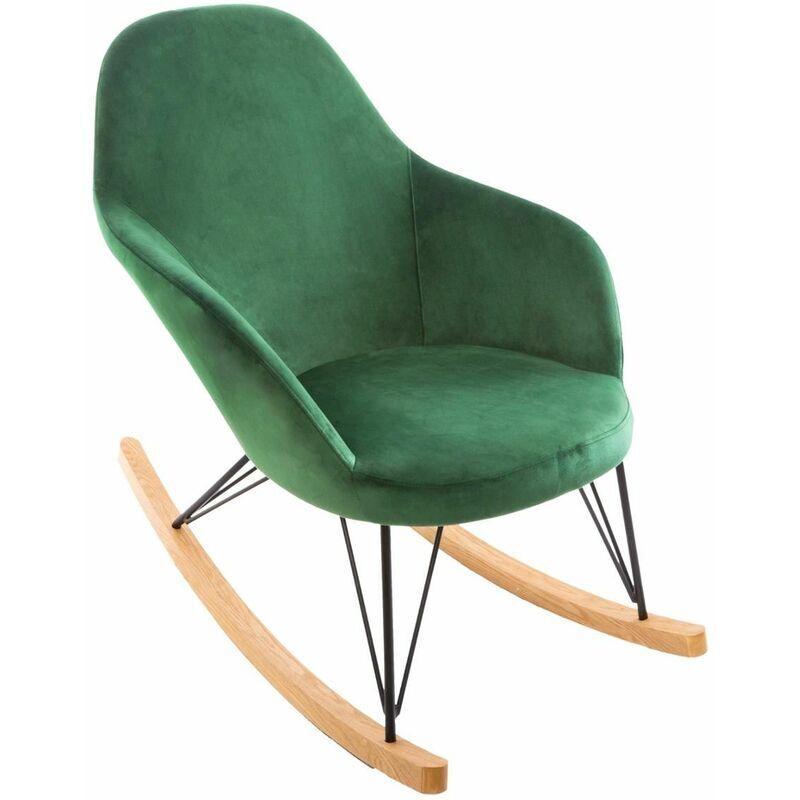 ATMOSPHERA Rocking chair Velours Ewan Vert - Atmosphera