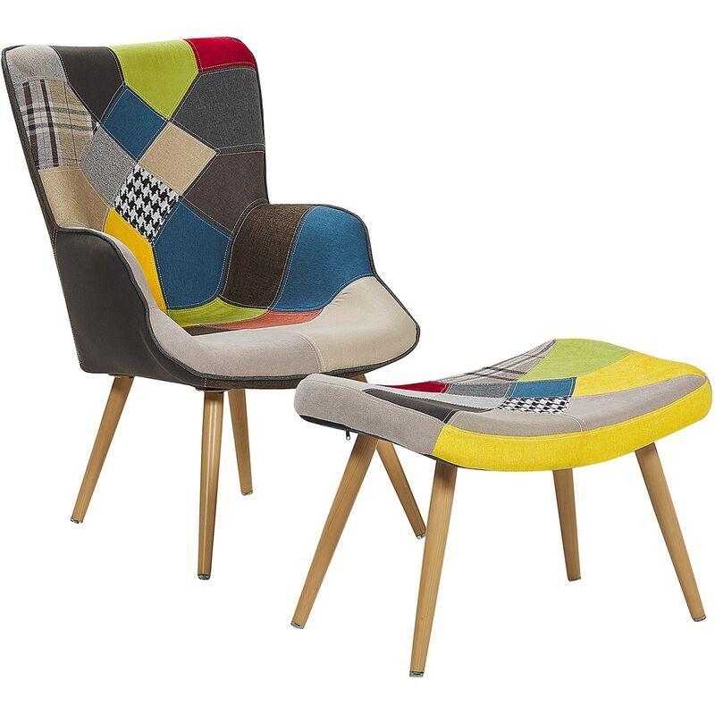 BELIANI Fauteuil en tissu patchwork multicolore avec repose-pieds VEJLE