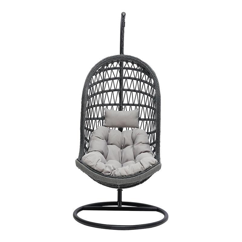 Miliboo - Fauteuil suspendu intérieur/extérieur en corde grise et métal BAIA