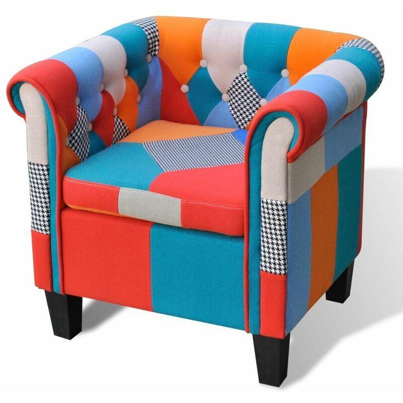 Hommoo Fauteuil avec design de patchwork Tissu HDV08495
