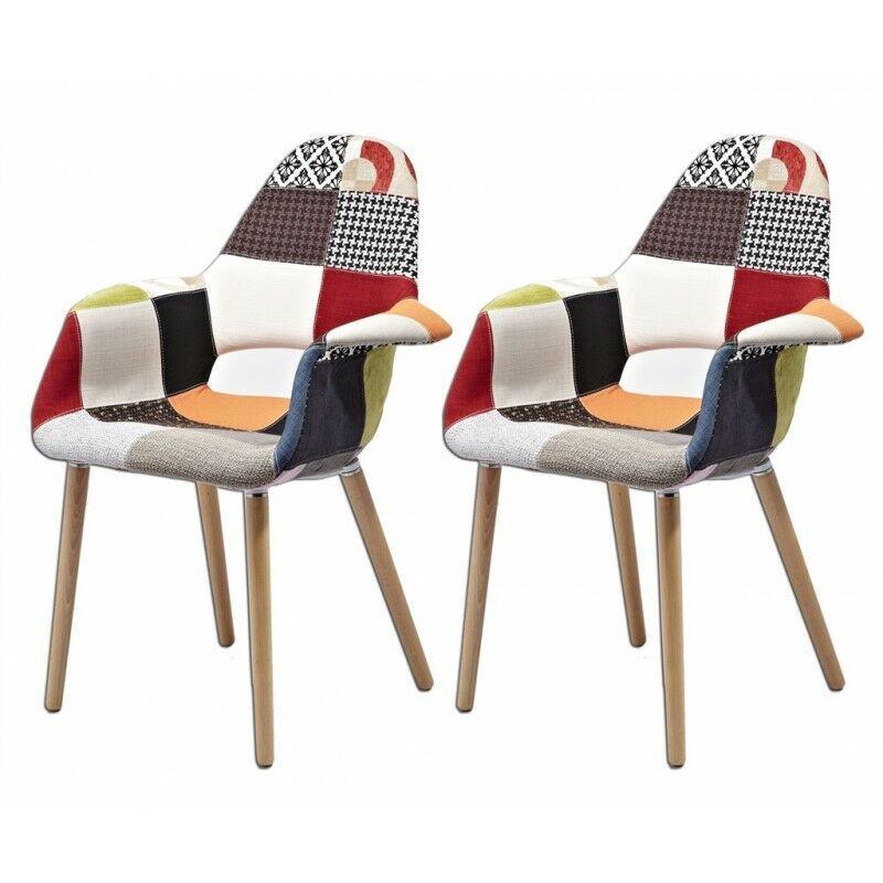 MEUBLETMOI Lot 2 fauteuils patchwork & déco - COSY - Multicolore