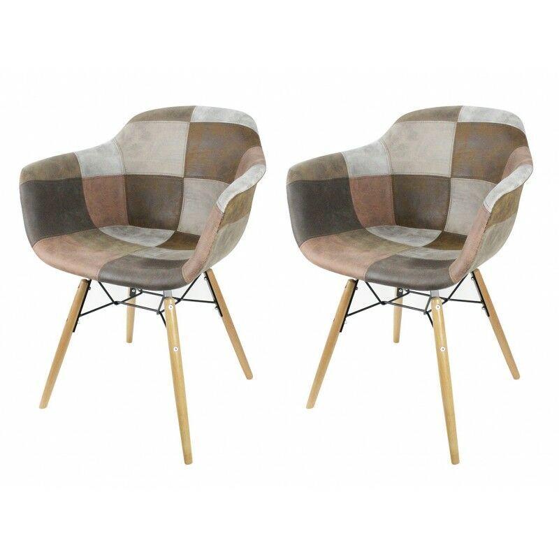 MEUBLETMOI Lot 2 fauteuils patchwork taupe - tendance industriel - SIMON - Marron