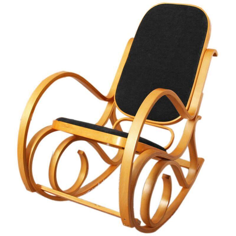 HHG Rocking-chair, fauteuil à bascule M41, imitation bois de chêne, assise en