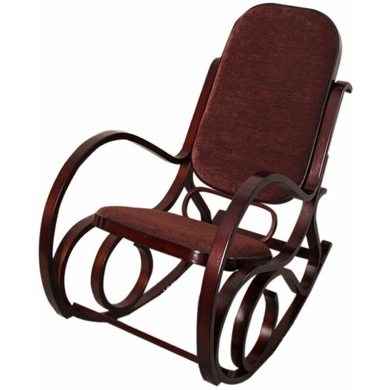 HHG - Rocking-chair, fauteuil à bascule M41, imitation noyer, tissu marron