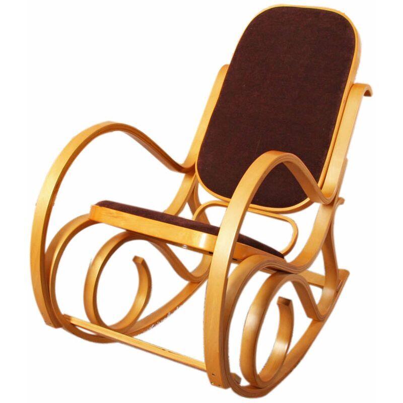 HHG Rocking-chair fauteuil à bascule M41, imitation chêne, tissu marron