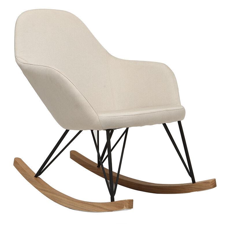Miliboo - Rocking chair tissu pieds métal JHENE - Beige naturel