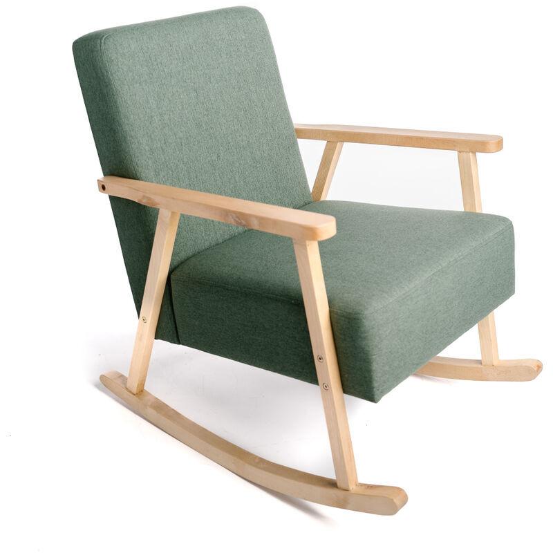 INTEMPORA Rocking Chair Tissu Vert 60X79X78Cm