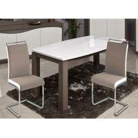 DYLAN Lot de 2 chaises de salle a manger - Simili taupe et blanc - Contemporain <br /><b>152.39 EUR</b> ManoMano