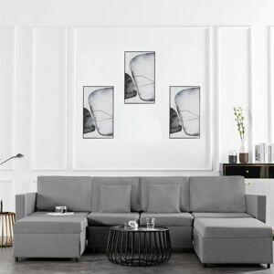 VIDAXL Canapé-lit extensible à 4 places Tissu Gris clair - Publicité
