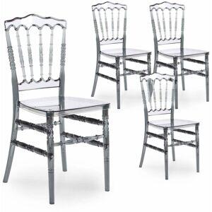 Mobilier Deco - NAPOLEON - Lot de 4 chaises transparentes gris - Publicité