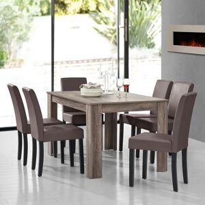 [en.casa] - Table à manger en chêne ancien avec 6 chaises marron - Publicité