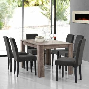 [en.casa] - Table de salle à manger (chêne antique) + 6 chaise de salle à - Publicité