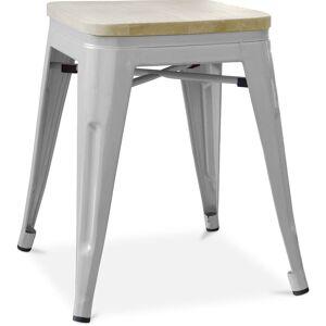 PRIVATEFLOOR Tabouret style Tolix - 46 cm - Métal et bois clair Gris clair - Publicité