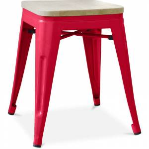 PRIVATEFLOOR Tabouret style Tolix - 46 cm - Métal et bois clair Rouge - Publicité