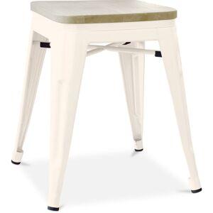 PRIVATEFLOOR Tabouret style Tolix - 46 cm - Métal et bois clair Crème - Publicité