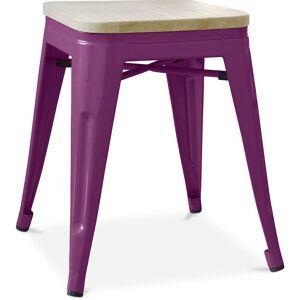 PRIVATEFLOOR Tabouret style Tolix - 46 cm - Métal et bois clair Violet - Publicité