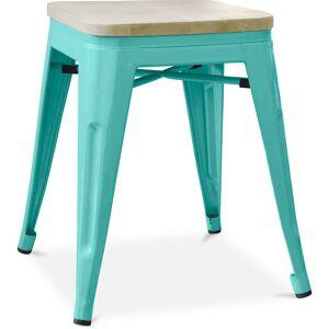 Privatefloor - Tabouret style Tolix - 46 cm - Métal et bois clair Vert pastel - Publicité