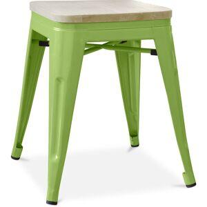 PRIVATEFLOOR Tabouret style Tolix - 46 cm - Métal et bois clair Vert clair - Publicité