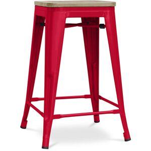 PRIVATEFLOOR Tabouret style Tolix - 61 cm - Métal et bois clair Rouge - Publicité