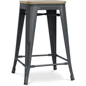 PRIVATEFLOOR Tabouret style Tolix - 61 cm - Métal et bois clair Gris foncé - Publicité