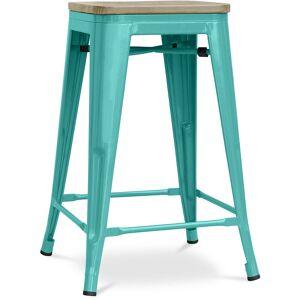 PRIVATEFLOOR Tabouret style Tolix - 61 cm - Métal et bois clair Vert pastel - Publicité