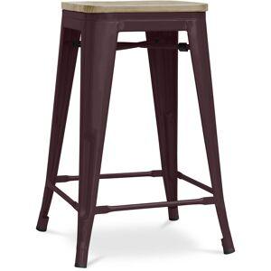 PRIVATEFLOOR Tabouret style Tolix - 61 cm - Métal et bois clair Bronze - Publicité