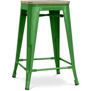 PRIVATEFLOOR Tabouret style Tolix - 61 cm - Métal et bois clair Vert - Publicité