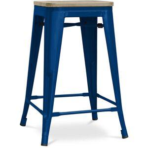 PRIVATEFLOOR Tabouret style Tolix - 61 cm - Métal et bois clair Bleu foncé - Publicité