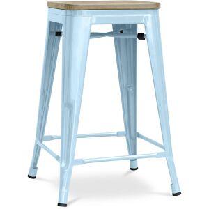 PRIVATEFLOOR Tabouret style Tolix - 61 cm - Métal et bois clair Bleu clair - Publicité