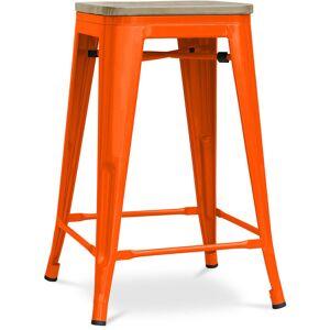 PRIVATEFLOOR Tabouret style Tolix - 61 cm - Métal et bois clair Orange - Publicité