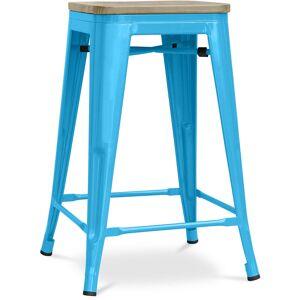PRIVATEFLOOR Tabouret style Tolix - 61 cm - Métal et bois clair Turquoise - Publicité