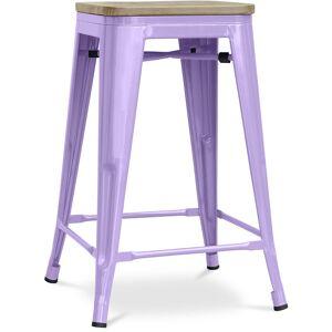 PRIVATEFLOOR Tabouret style Tolix - 61 cm - Métal et bois clair Violet pastel - Publicité