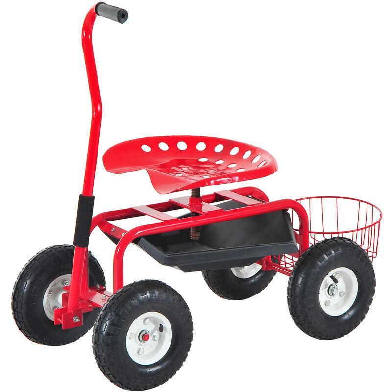 HOMCOM 2 en 1 tabouret pivotant chariot mobile de jardin charge max. 150 Kg rouge et