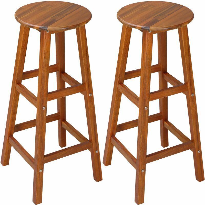 DEUBA 2x Tabouret de bar- bois d'acacia - Assise ronde - hauteur : 76 cm - Style